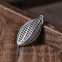 S925 Real Silver Vintage Hollow Olive Core Design Pendant Man Woman Pure Silver Simple Fashion Elliptical Pendant Jewelry