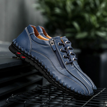 Big Size 38-50 Brand Genuine Leather Men Casual Shoes Fashion Casual Shoes Breathable Men Flats Loafers Men's Driving Shoes handmade mens shoes genuine leather casual shoes luxury brand breathable men flats shoes big size male loafers zapatos gray blue