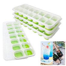 14 Grids Ice Cube Trays Easy-Release Silicone and Flexible Ice Cube Maker with Spill-Resistant Removable Lid BPA Free for Wine