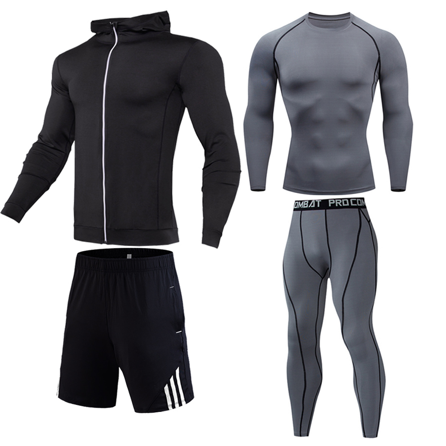 Compression Shirt + Leggings + Sports Shorts + Hoodie 4-piece Combination Sports Suit Gym Clothing S-XXXXL Dropshipping