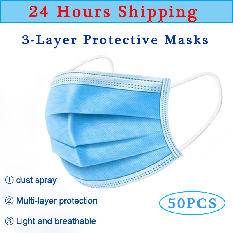 50PCS Medical Mask 3 Layers Disposable Face Mask Virus Filter Anti Dust Mask Virus Dust Bacteria Mask Medical 24 Hours Shipping