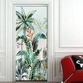 Наклейки на дверь из ПВХ с тропическими растениями и листьями самоклеящиеся водонепроницаемые съемные плакаты обои для гостиной  спальни  ...
