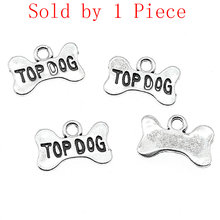 Alibaba Retail Store 1 Piece 14x10mm Top Dog Bone Puppy Dog Dog Cookies Charms Pendants For Bracelets Gift For Girl(China)