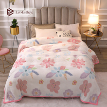 Liv-Esthete Flower Blanket Super Soft Flannel Aircraft Sofa Active Printing Throw Portable Car Travel Cover Warm