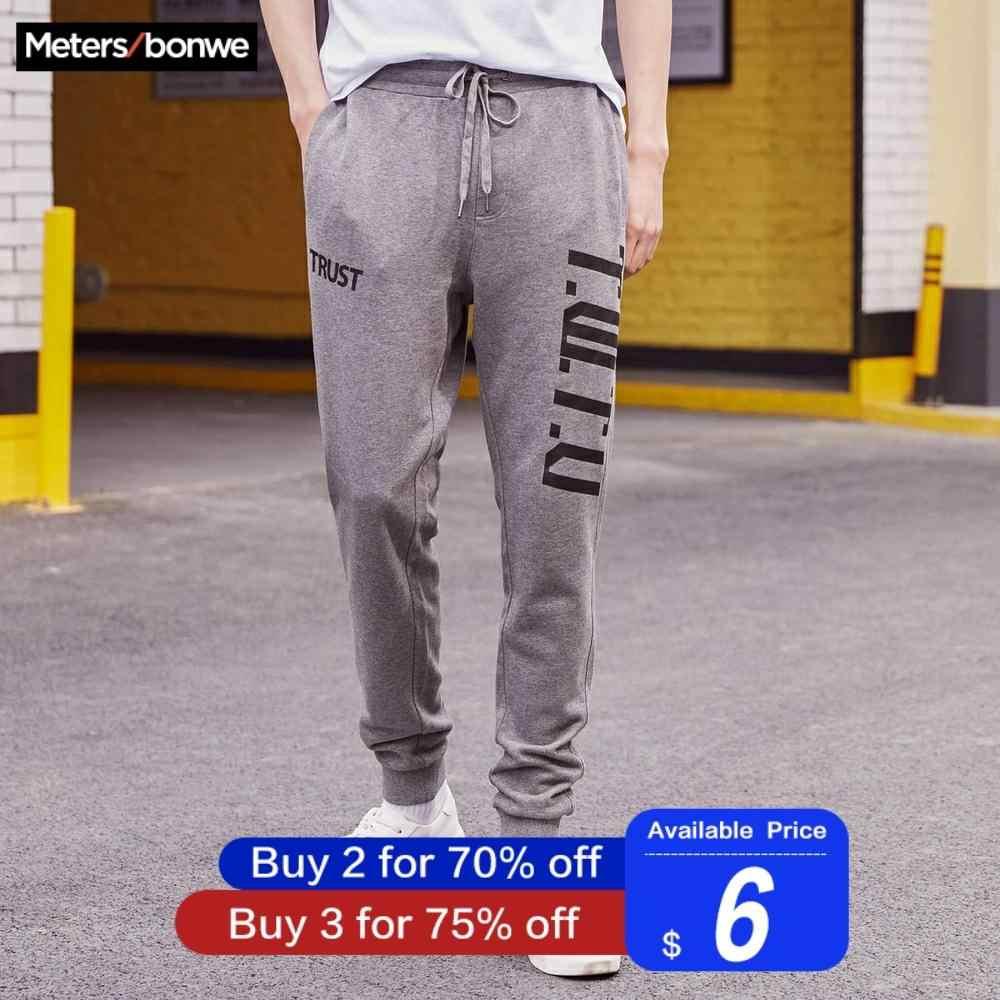 Metersbonwe erkek spor pantolonları 2019 ilkbahar sonbahar baskı koşu pantolon Chinos moda spor erkek marka pantolon yüksek kalite