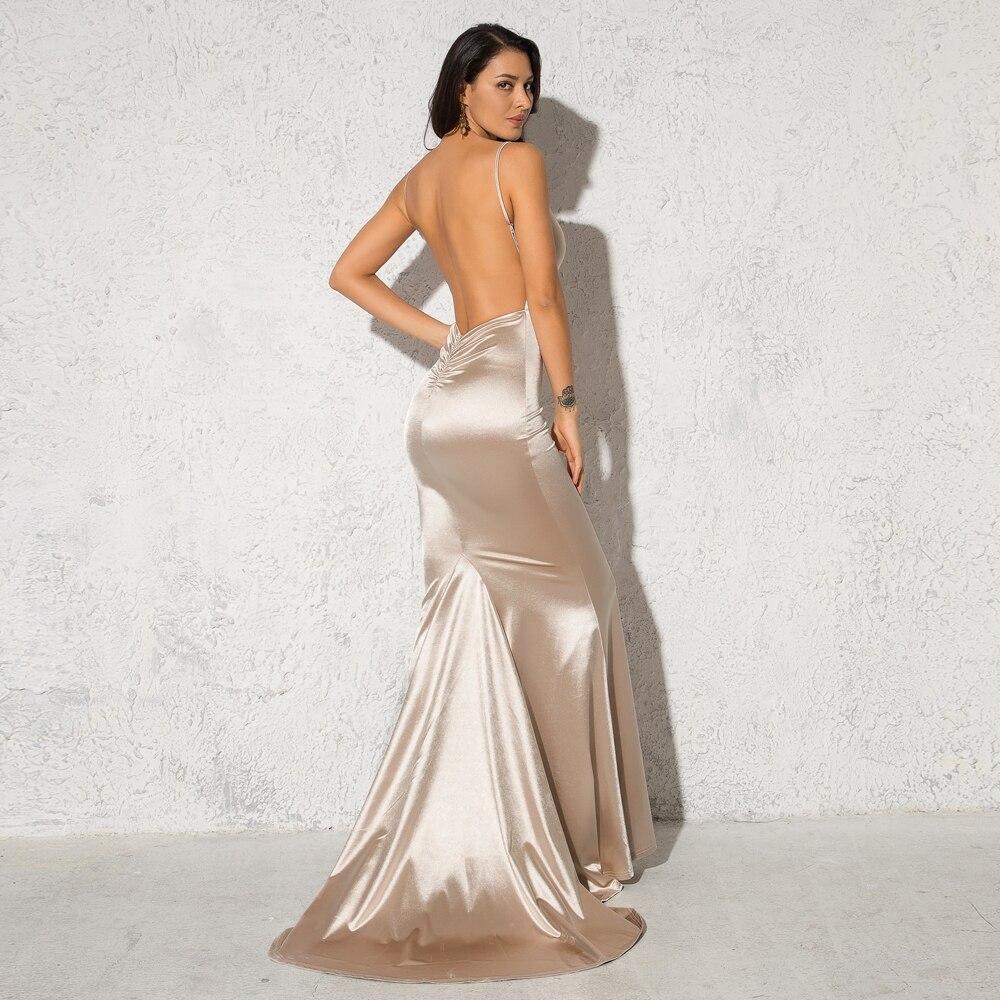 Deep V-Neck Burgundy Satin Mermaid Open Back Long Evening Dress 15