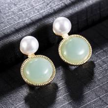2020 New Vintage Green Round Marble Opal Stone Big Stud Earrings for Women Fashion Temperament Simulated Pearl