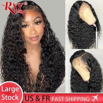 RXY Closure Wig 250 Density Deep Curly Human Hair Wig Remy Lace Front Wig 360 Human Hair Lace Frontal Wigs For Black Women