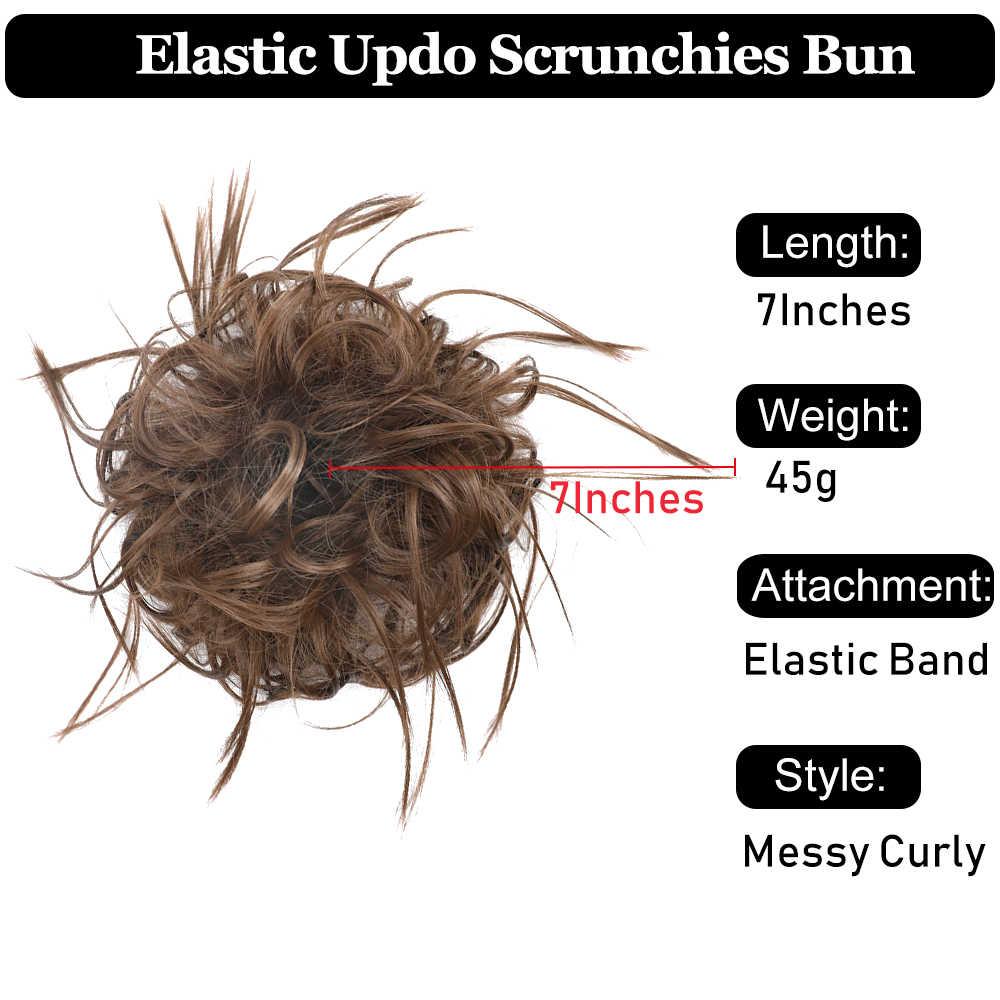 Messy przyrząd do koka z włosów Scrunchie dla kobiet przedłużanie włosów peruka syntetyczna pierścień Wrap Chignon czarny brązowy wysokiej temperatury włókna