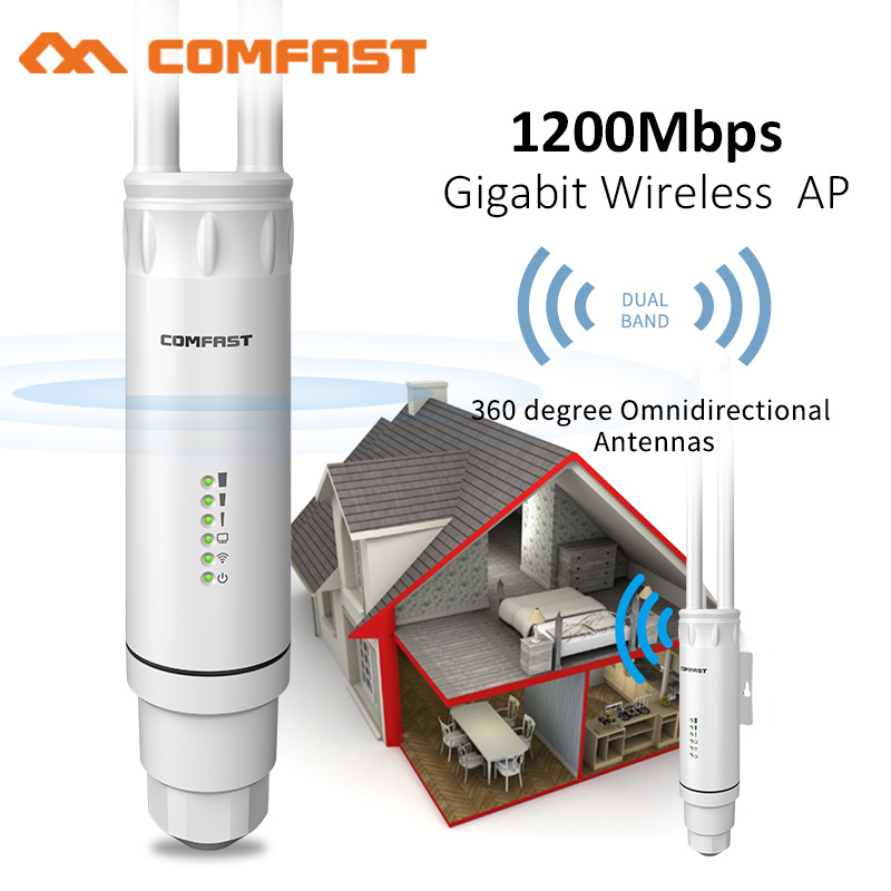 New Comfast High Power AC1200 Outdoor Wireless Wifi Repeater AP/WIFI Router 1200Mbps Dual Dand 2.4G+5Ghz Long Range Extender PoE