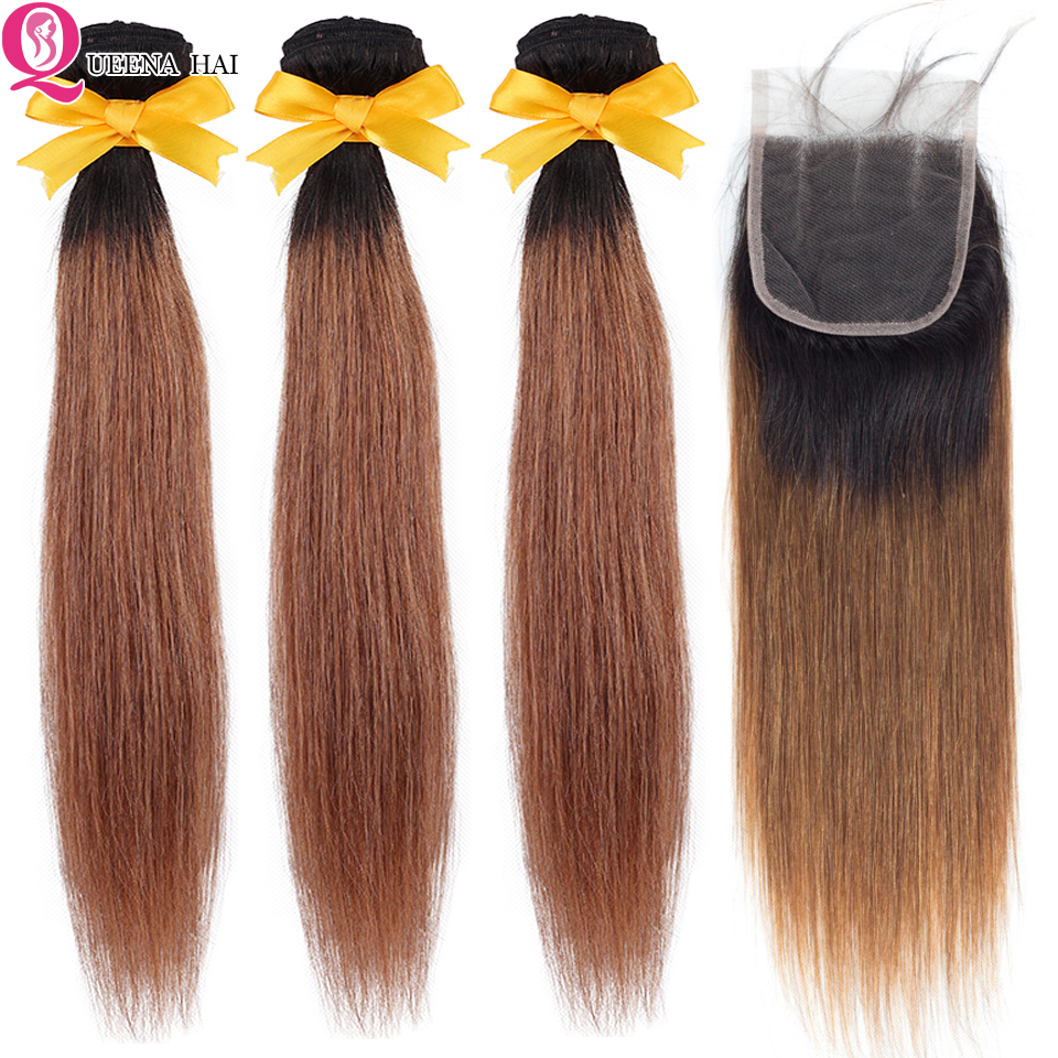 Queena Peruvian Straight Hair 3 Bundles With Closure Baby Hair 1B/30 Two Tone Colored Remy Human Hair Ombre Bundles With Closure