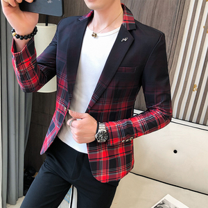 Wedding Business Clothing Male Blazer Masculino 2020 Spring British Style Plaid Blazer For Men Suit Jacket Casual Dress Coat