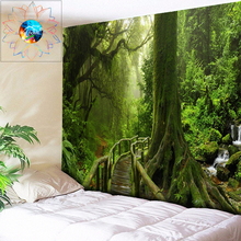 Secluded Forest Mandala Tapestry Boho Dorm Decor Wall Hanging Psychedelic Decoration Hippie Carpet Fabric Big
