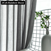 JCyh Modern Stripe Tulle Curtains For Living Room Bedroom Super Soft Sheer Window Curtain Home Decor Fabrics Voile Curtain Tende