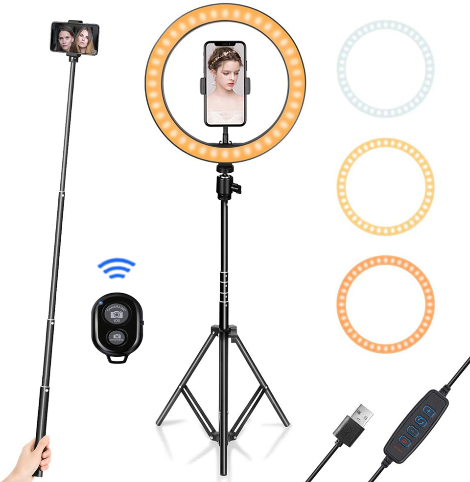 Led Ring Light With Stand | 10inch LED Ring Light With Tripod Stand For Cell Phone Mini Led Camera Ringlight Ring Lamp For Video Photography Makeup Youtube