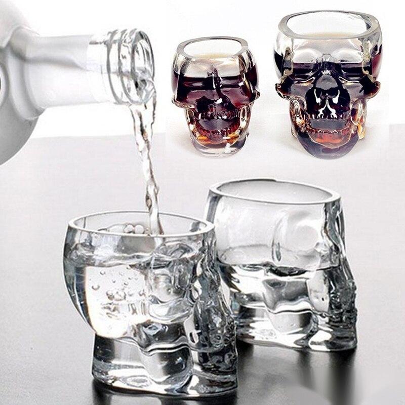 Glass Cup Skull Head Shot Glass Cup For Cocktail Crystal Whiskey Vodka Mug Wine Mini Bones Barware Drinking Ware Skull Glasses