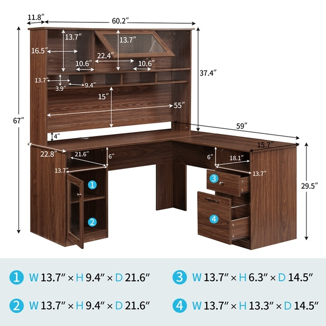Home Office L-Shaped Desk With Hutch And Glass Doors 5