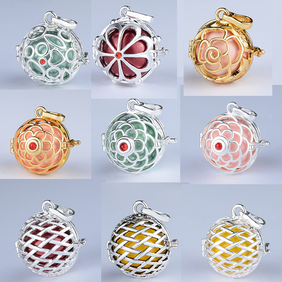 0.01$ Trial product 18/20 mm Flower Ball Cage Locket Necklace Pregnancy Necklace for Aromatherapy Essential Oil Pregnant Women
