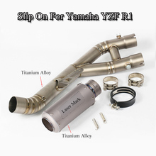 R1 Full Set Exhaust Pipe Titanium Alloy Exhaust Muffler Pipe With Mid Connect Link Tube For Yamaha YZF R1 Moto Slip On 2015-2018