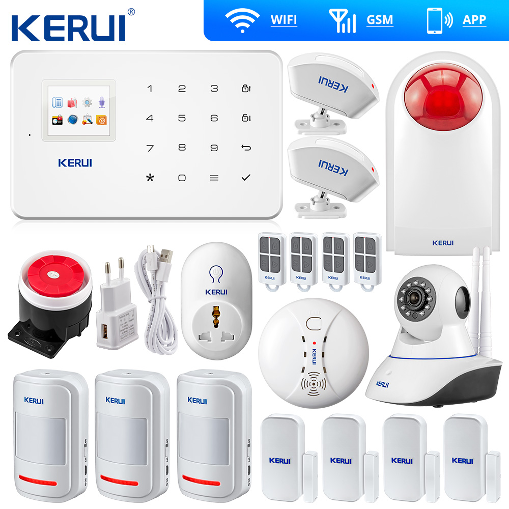 Kerui Wireless GSM Home Security Alarm System ISO Android APP TFT Touch Panel Sicherheit Alarm System Wifi IP Kamera Rauch sensor