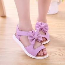 Детская обувь для девочек; сандалии; летние детские сандалии; модная обувь принцессы на плоской подошве с бантом для девочек; Zapatos Verano; сандалии для девочек