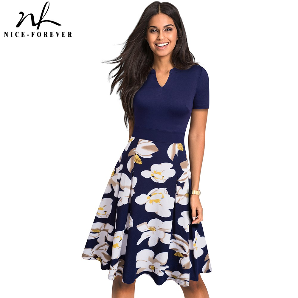 Nice-forever Stylish Elegant Floral Printed Women Vestidos Casual Short Sleeve A-Line Summer Flare Dress A036