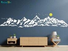 Grandes montanhas adesivo de parede para o quarto das crianças berçário com sol pássaros decalques decoração para casa sala estar quarto vinil yt4901