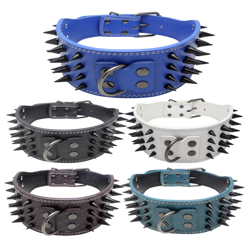 Jin Ling Jie Four Rows Spike Anti-Bite Pet Collar Double Layer Canvas Anti-Breaking Pu Dog Chain Dog Supplies Currently Availabl