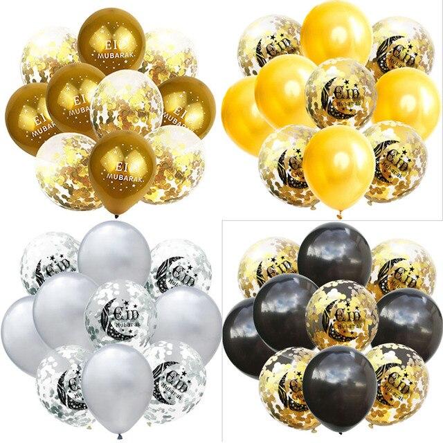 10 قطعة زينة عيد مبارك بالونات الذهب الأسود عيد مبارك بالونات مسلم رمضان الإسلامي للديكور المنزل بالونز لوازم 8XN