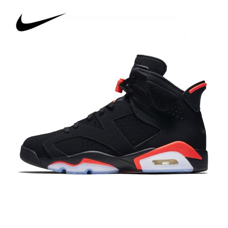Nike Air Jordan 6 Black Infrared OG 2019 Men's Basketball Shoes Original High Top Jordan Sneakers Basketball Shoes Women