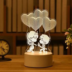 1 шт. подарок ко Дню Святого Валентина Любовь 3D акриловое волокно, кролик, луна, светильник светодиодный Ночной светильник свадебный подарок розовой мишкой подарок пасхальные украшения|Ночники|   |