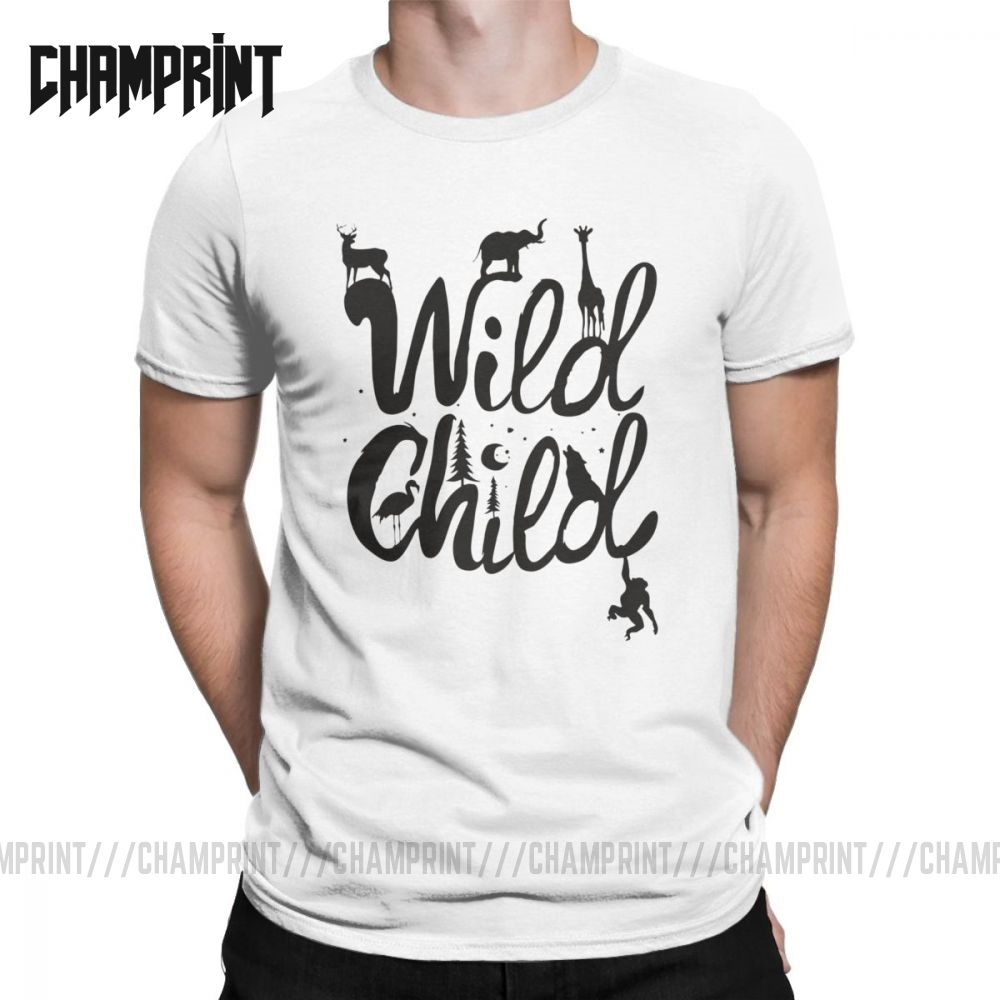 Funny Hey Child Stay Wild <font><b>T</b></font>-<font><b>Shirt</b></font> Men Crew Neck Pure Cotton <font><b>T</b></font> <font><b>Shirt</b></font> <font><b>Wilderness</b></font> Short Sleeve Tee <font><b>Shirt</b></font> Graphic Printed Clothing image
