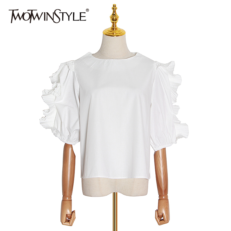 TWOTWINSTYLE Casual Women Shirt O Neck Lantern Short Sleeve Loose Elegant Blouse For Female Fashion Clothing 2020 Spring Tide