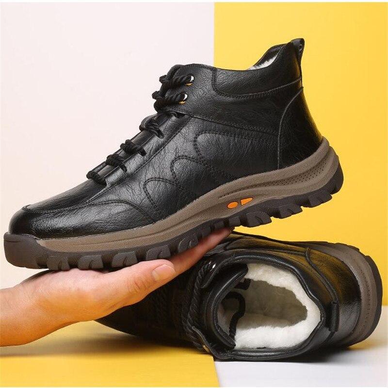 2058.65руб. 38% СКИДКА|Зимние теплые мужские ботинки; уличные зимние ботинки из натуральной кожи на меху; водонепроницаемые рабочие Нескользящие ботильоны ручной работы; Botas Mujer|Зимние сапоги| |  - AliExpress