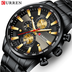 New CURREN Watch for Men Top Brand Black Gold Quartz Sports Wristwatch Mens Chronograph Clock Date Stainless Steel Male Watches