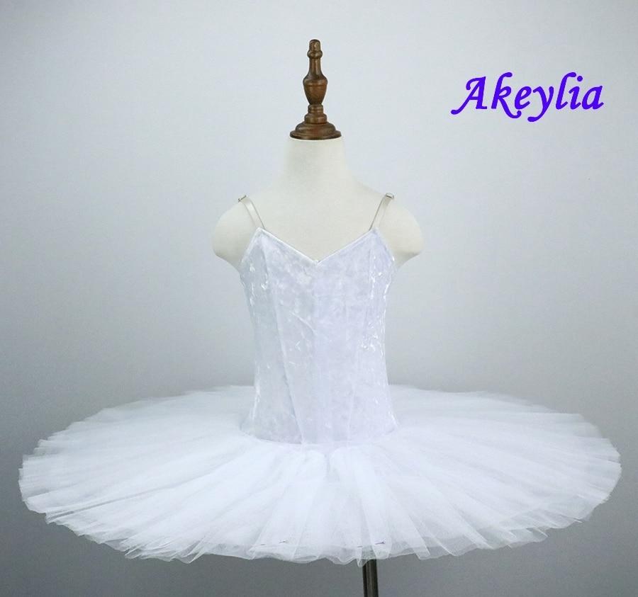 White pre porfessional Pancake Tutu Girls Swan Lake Black Costumes Classical Peformance Tutu Dress  without decoration