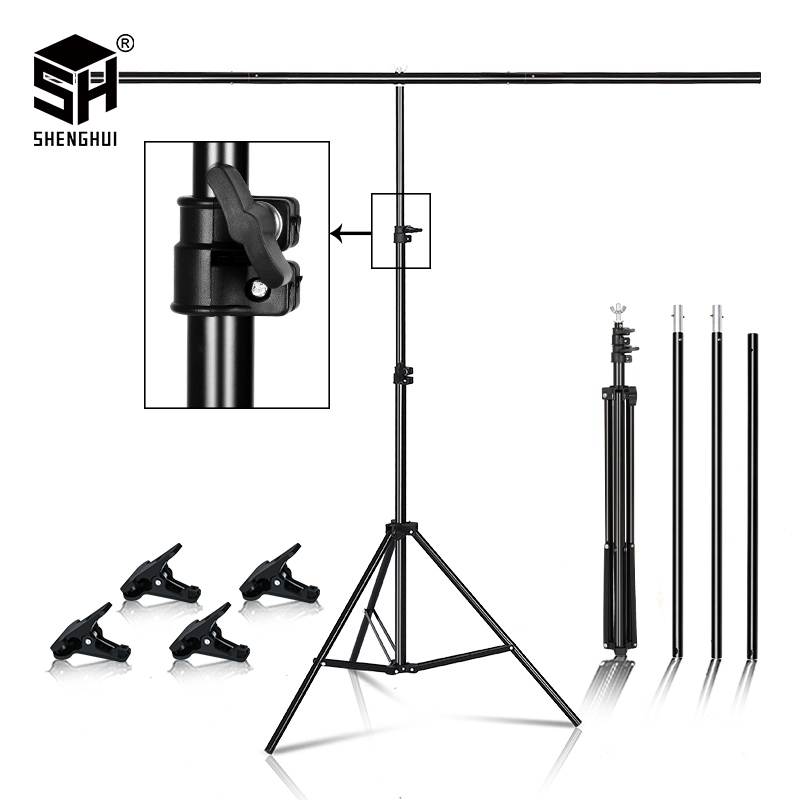T-shape Metal Backdrop Background Stand Frame Support Multiple Sizes For Photography Photo Studio Video Cromakey Green Screen(China)
