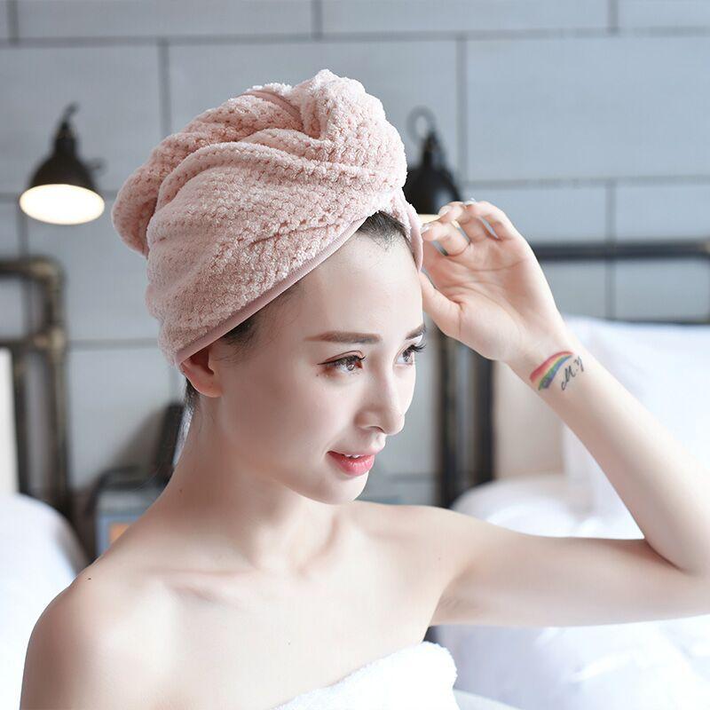 Magical Coral Fleece Dry Hair Cap Thicken Hair Super Absorbent Quick-drying Towel Turban Bath Cap Bathrobe Hat Wrap Head GIFT
