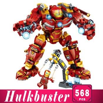 цена на Iron man Building Blocks Bricks Hulkbuster War Machine Super Heroes Avengers Infinity War Children Kids Toys Gifts Marvel Series