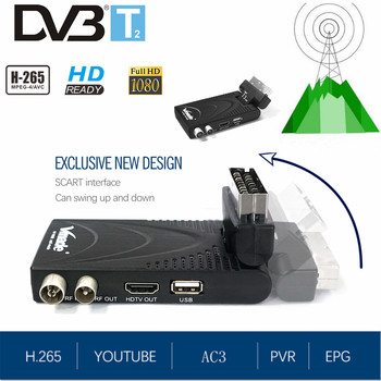Fully 1080P H.265/HEVC MPEG-2/4 TV Decoder DVB-T2 T3 Mini Digital TV Tuner Terrestrial Receiver Support AC3 HD Audio Youtube