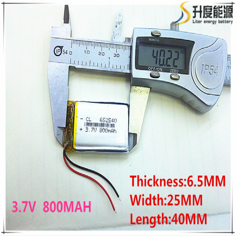 3.7V lithium polymer battery 6.5*2540 <font><b>652540</b></font> 800mAh MP3 MP4 GPS Bluetooth 6.5*25*40mm lithium battery small stereo bluetooth GPS image