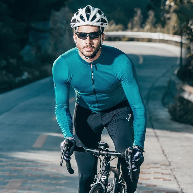 Santic Cycling-Jersey Road-Bike-Tops Long-Sleeves Fit Men WM8C01100 Sun-Protective Comfortable