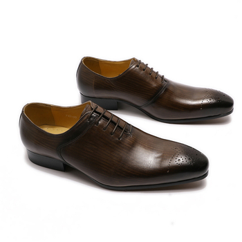 2020 Autumn Men Shoes Elegant Men's Pointed Toe Oxford Lace Up Genuine Leather Dress Shoes Wedding Party Formal Shoes