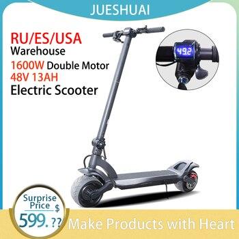 Envío Gratis 48V 1600W Scooter Eléctrico de doble Motor 45 KM/H 8 pulgadas patinete eléctrico plegable patinete eléctrico