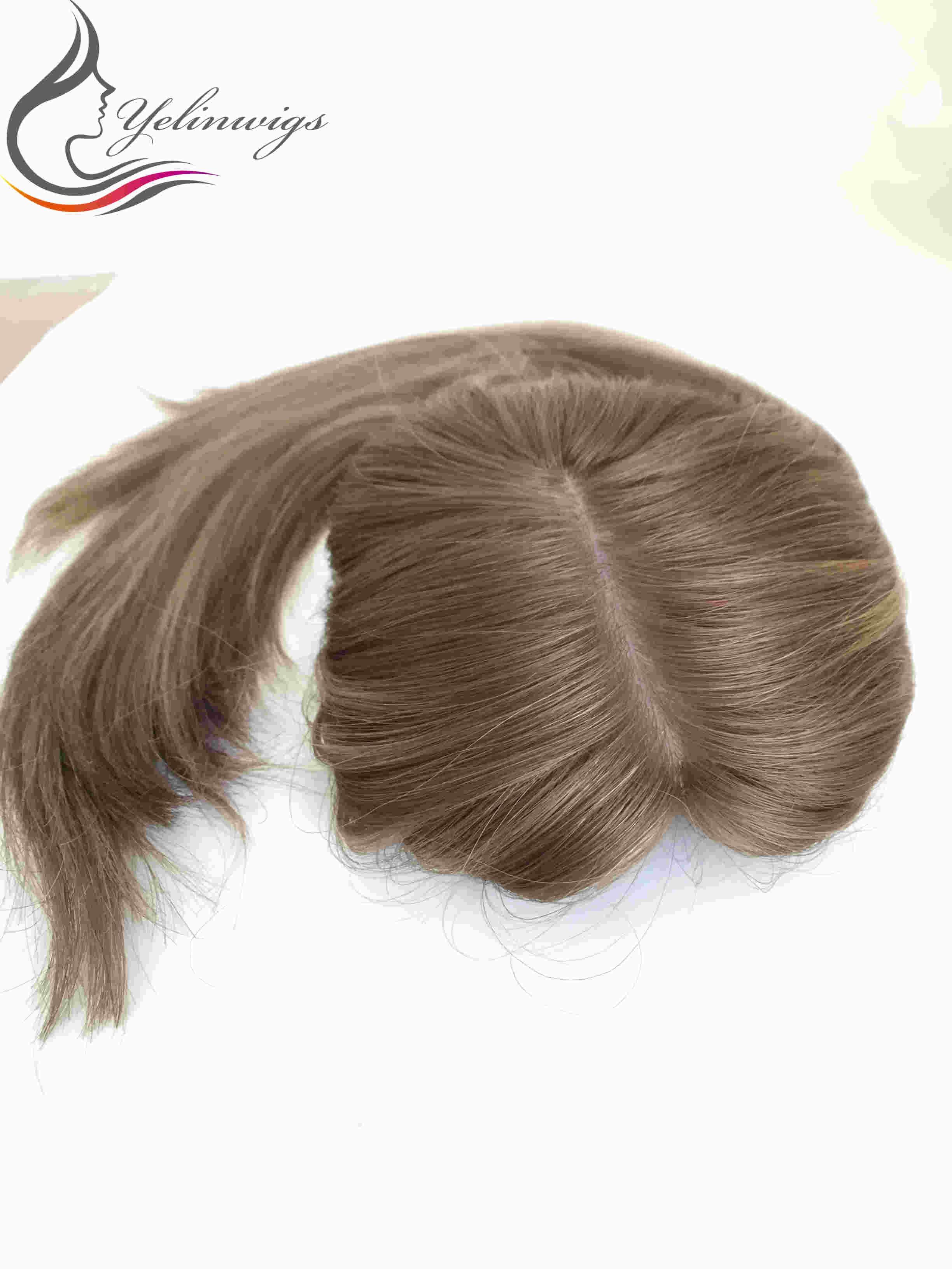 Hot Sale Highlight Blonde Color Jewish Topper Hair Pieces High Quality European Hair Kippah Fall Hair Pieces