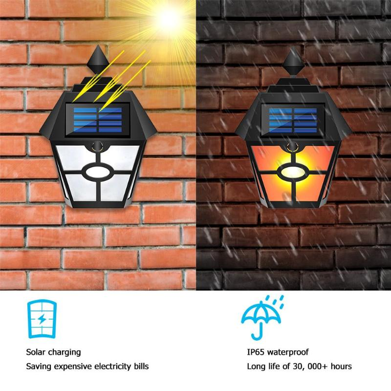 Retro Hex LED Flame Lamp Solar Energy Waterproof IP65 Courtyard Garden Outdoor Landscape Wall Light Night Light