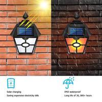 الرجعية عرافة LED مصباح متوهج على شكل شعلة الطاقة الشمسية مقاوم للماء IP65 فناء حديقة في الهواء الطلق المشهد الجدار ضوء الليل