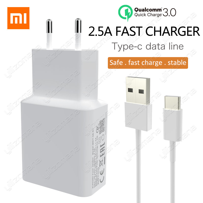 Xiaomi Original Charger 2.5A 9V/2A EU Quick Fast QC 3.0 Type C USB Data Cable Travel Charging Adapter For Mi 5 6 8 Redmi Note 7-in Mobile Phone Chargers from Cellphones & Telecommunications