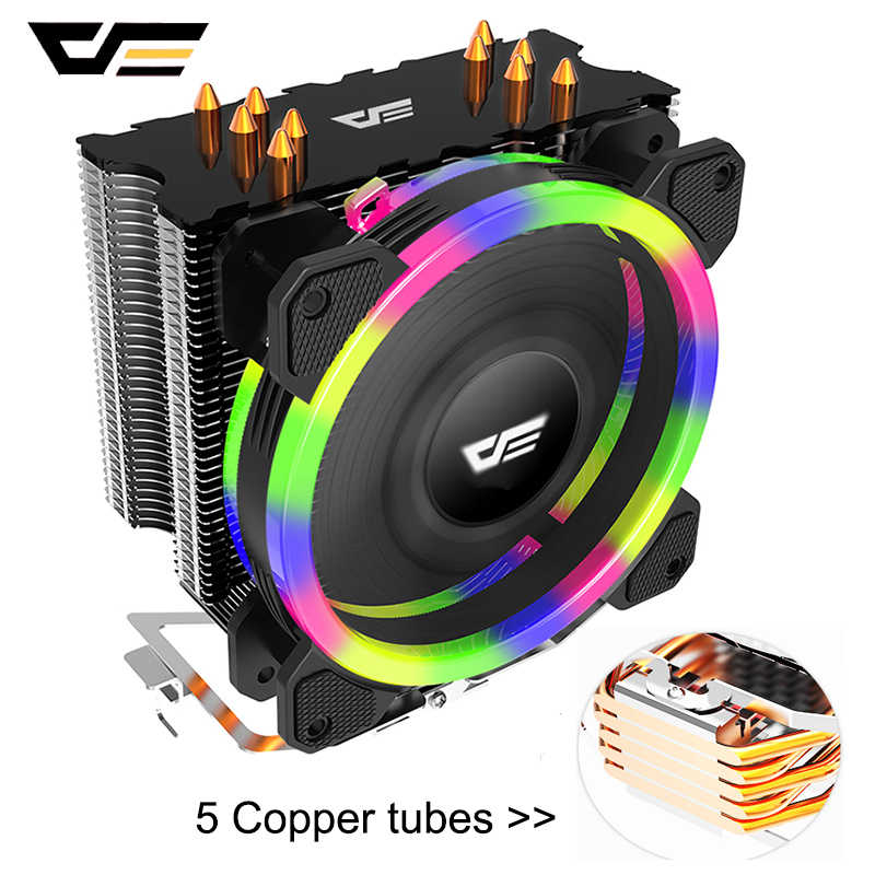 Darkflash 5 Heatpipe RGB LED CPU Cooler Radiator Kipas PWM 120 Mm 4Pin DP Mulai dari 280W PC CPU Pendingin Cooler heatsink Fan LGA115X/1366/AM4