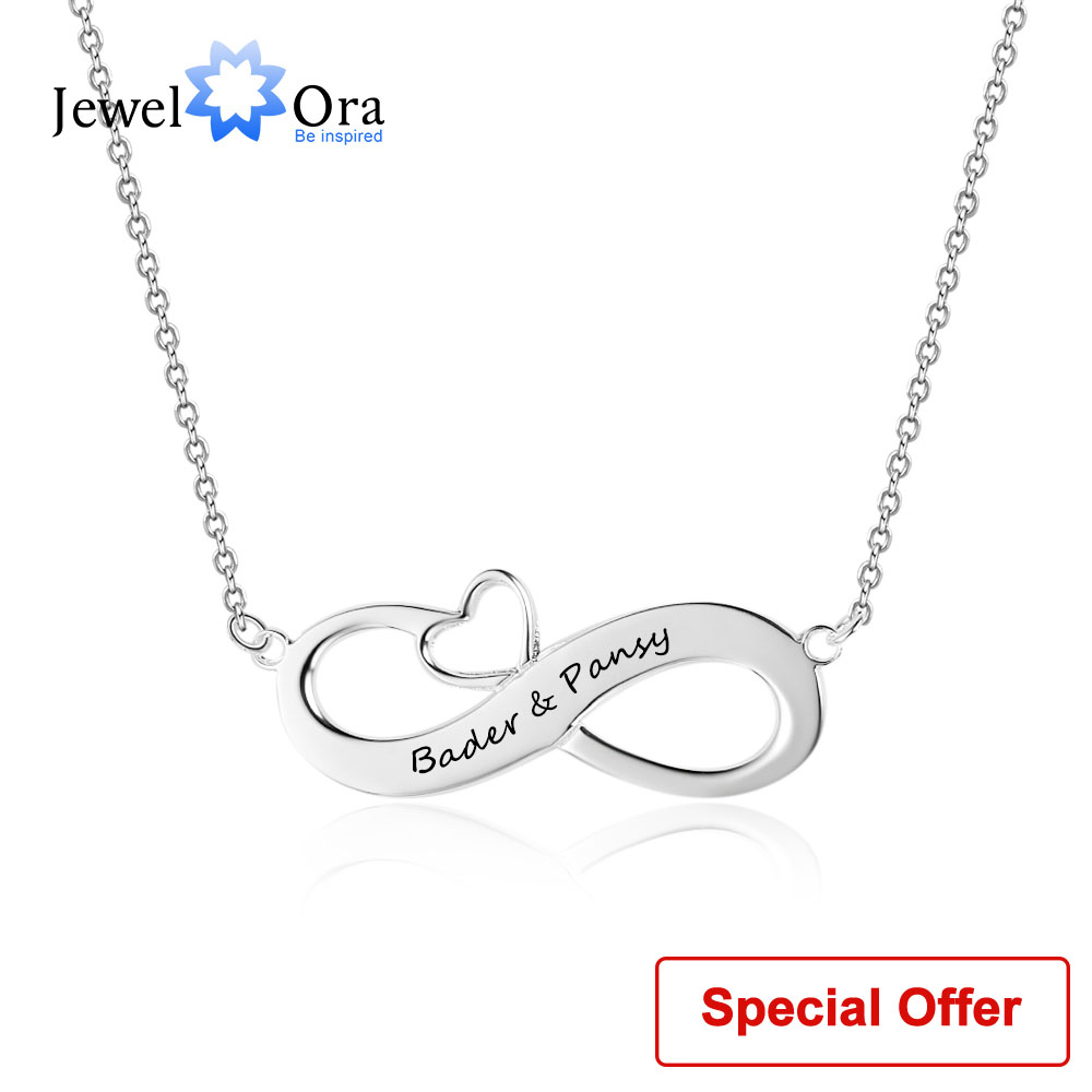 Collier infini personnalisé avec coeur nom personnalisé collier 925 colliers et pendentifs en argent Sterling (bijouora NE102395)